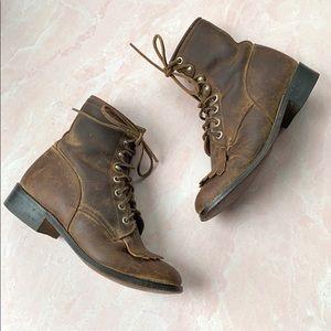 Justin Junior Kiltie Roper Brown Leather Boots 3.5